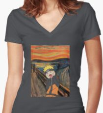 Naruto Scream Women's Fitted V-Neck T-Shirt