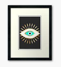 hamsa evil eye gold foil print Framed Print