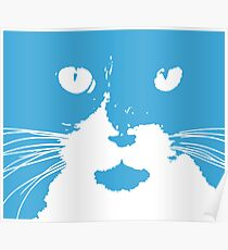 """Cat Print/My Patch"" Blue and White Cat Feline Face Graphic Design - Jenny Meehan  Poster"