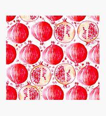 pomegrenade watercolor fresh fruit Photographic Print