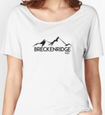 BRECKENRIDGE COLORADO Ski Skiing Mountain Mountains Skiing Skis Silhouette Snowboard Snowboarding Women's Relaxed Fit T-Shirt