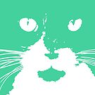 Cat Print/My Patch Turquoise Feline Face Abstract  Design - Jenny Meehan by Jenny Meehan