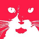 Cat Print/My Patch Red and White Feline Face Design - Jenny Meehan  by Jenny Meehan