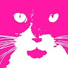 Cat Print/My Patch Pink and White Feline Face Abstract Design - Jenny Meehan by Jenny Meehan