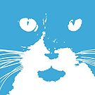 Cat Print/My Patch Light Blue and White Feline Face Abstract - Jenny Meehan by Jenny Meehan