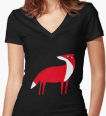 Fox pattern Women's Fitted V-Neck T-Shirt