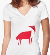 Fox pattern Women's Fitted V-Neck T-Shirt