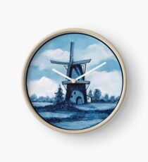 Delft Blue Dutch Windmill, Painting, Blue and White Clock
