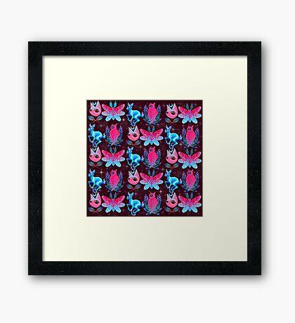 Cute Animal Pattern - Dark Pink  Framed Print