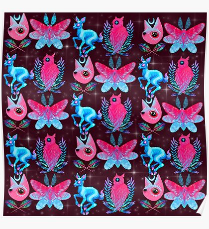 Cute Animal Pattern - Dark Pink  Poster