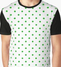 Green Dots and White Background Graphic T-Shirt