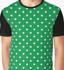 White Dots and Green Background Graphic T-Shirt