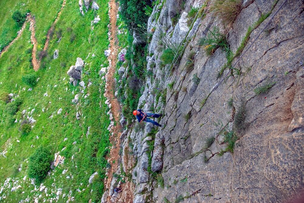 Rock climbing in Manara Cliff, Israel by Eyal Nahmias