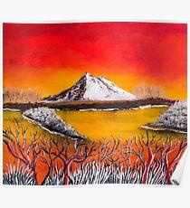 white mountain sky on fire Poster