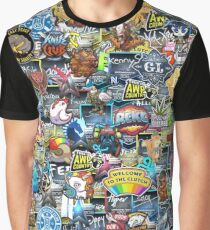 CSGO Sticker Collage Graphic T-Shirt