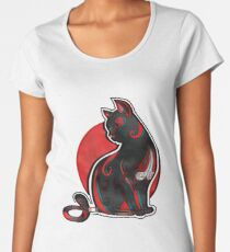 Artistic Abstract Black Cat with 3D effect Women's Premium T-Shirt
