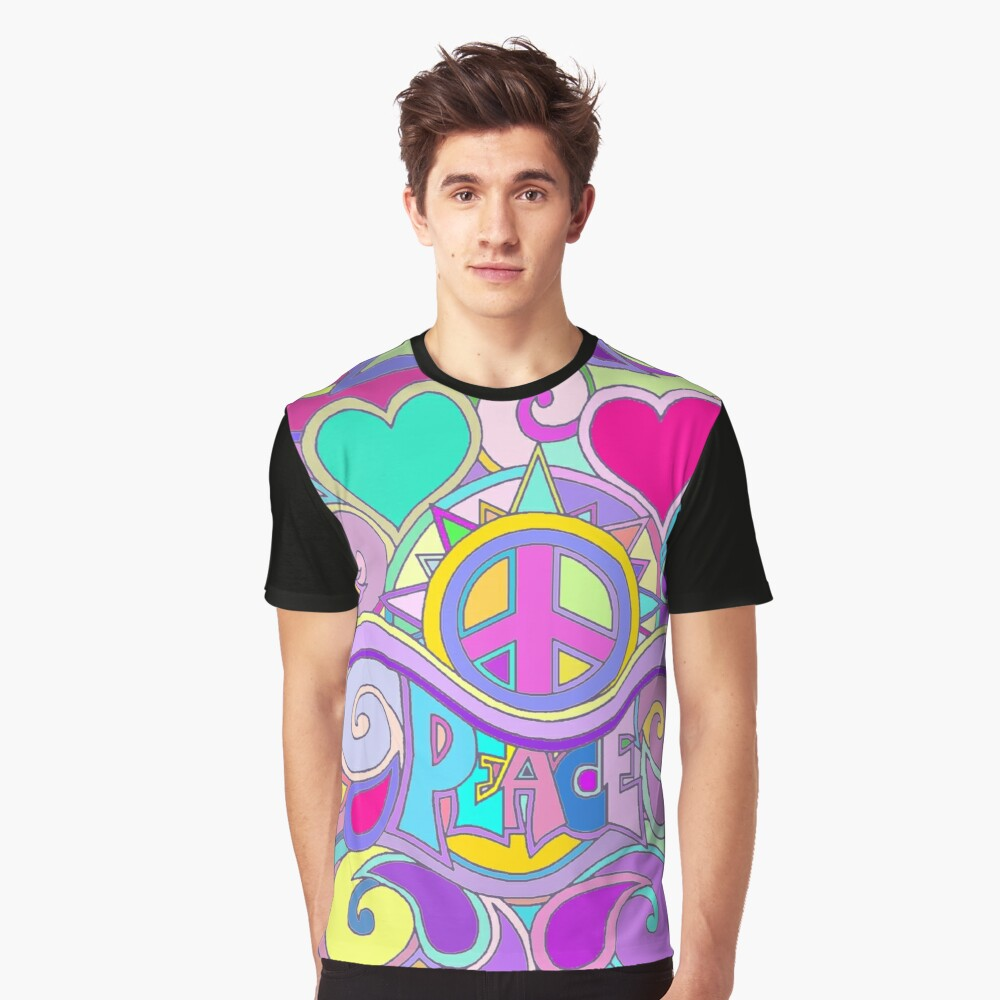Psychedelic Hippy Retro Peace Art Graphic T-Shirt