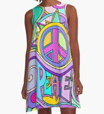 Psychedelic Hippy Retro Peace Art A-Line Dress