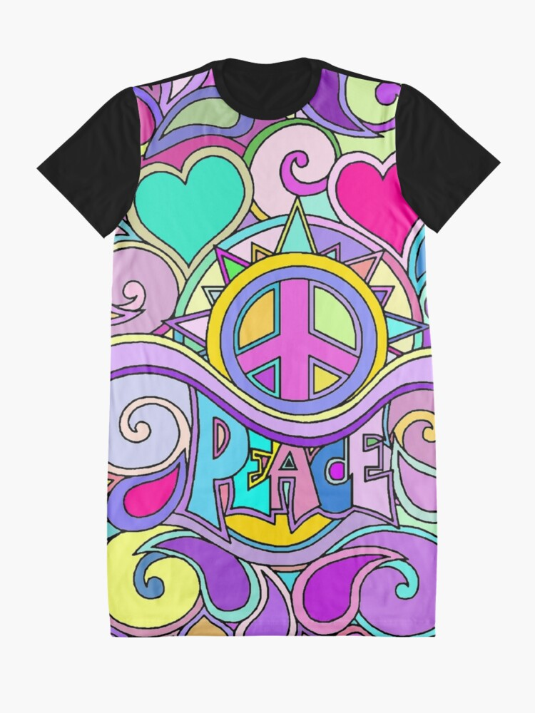 Alternate view of Psychedelic Hippy Retro Peace Art Graphic T-Shirt Dress