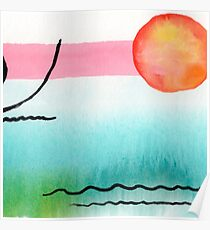 Intuitive Abstract Mix and Match with Bubble Gum Tropics Poster