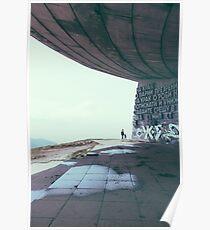Buzludzha monument communist brutalist architecture Poster
