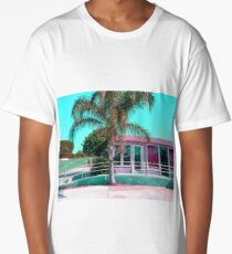 pink building in the city with palm tree and blue sky Long T-Shirt