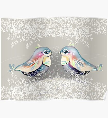 Exotic Silver Lovebirds Poster