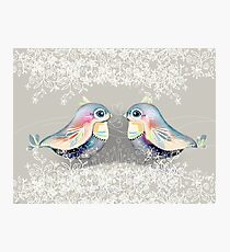 Exotic Silver Lovebirds Photographic Print