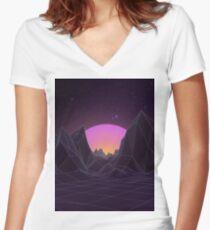 80s Retro Vaporwave Women's Fitted V-Neck T-Shirt