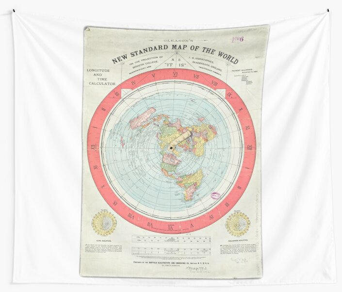 Flat Earth Gleason S Map Wall Tapestries By Flatearthtalk Redbubble