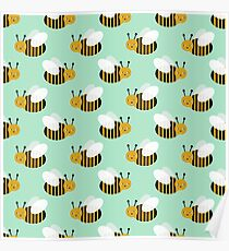 Bee pattern print minthoney bees nature inspired cute nursery kids gender neutral pattern by CharlotteWinter Poster