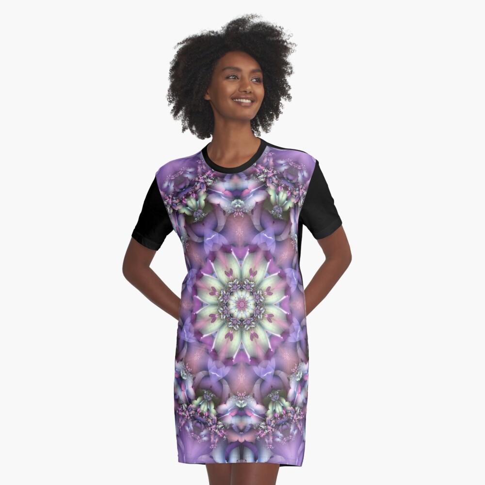 Lilac Mandala Graphic T-Shirt Dress Front