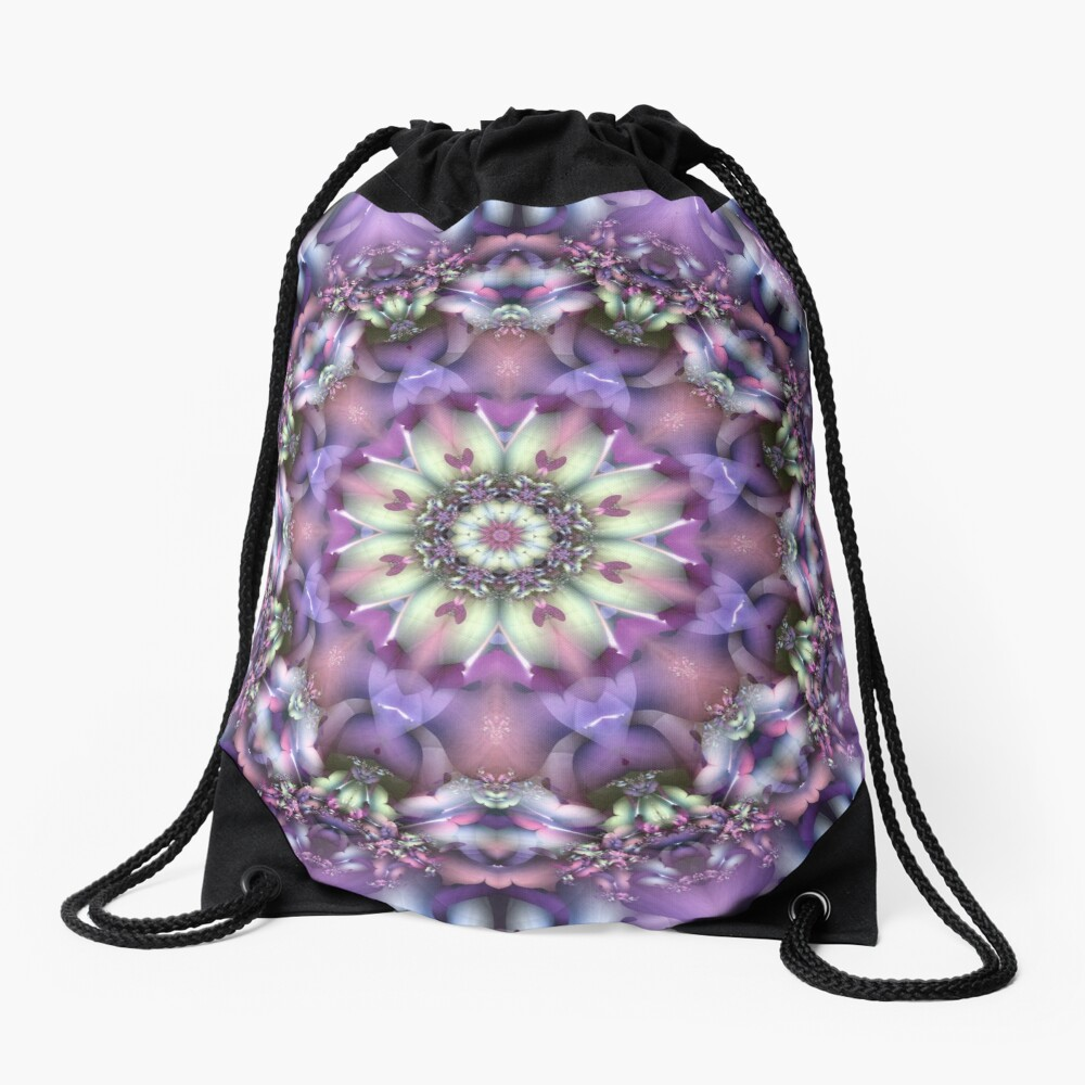 Lilac Mandala Drawstring Bag