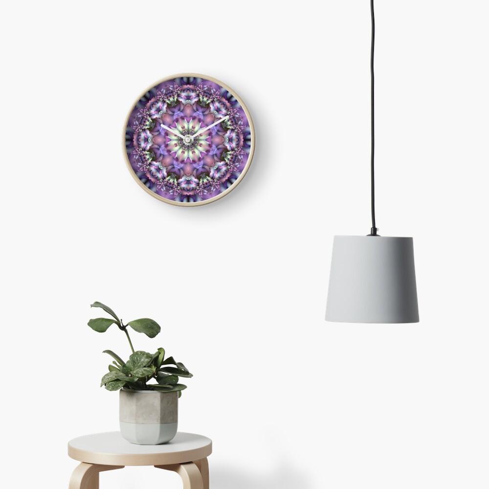 Lilac Mandala Clock