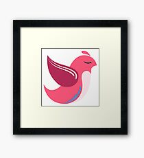 Single cartoon bird flying Framed Print