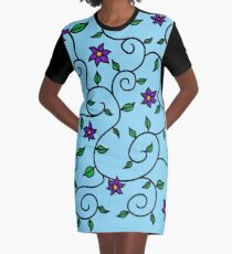 Flowers and Leaves Graphic T-Shirt Dress