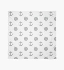 Gray Anchors and Sand Dollars on White Scarf