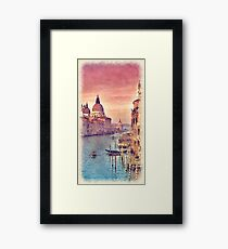 Chic Vintage Italy Venice Canal Pastel Watercolor Framed Print