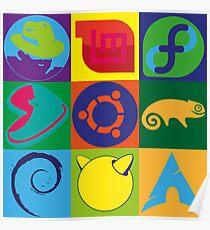 Linux Logo Tiles Poster