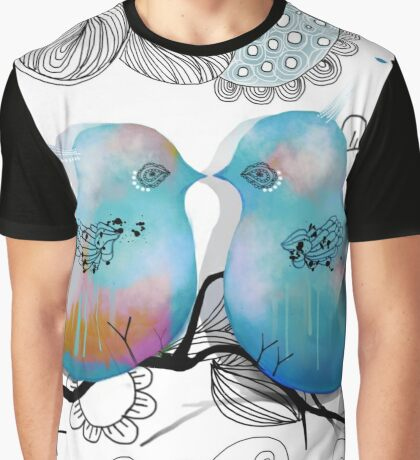 Turquoise Love Birds Graphic T-Shirt