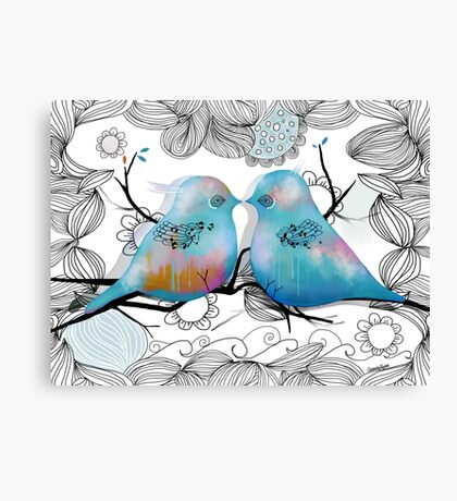 Turquoise Love Birds Canvas Print