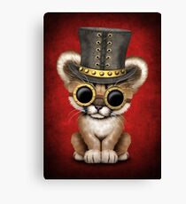 Steampunk Baby Cougar Cub on Red Canvas Print