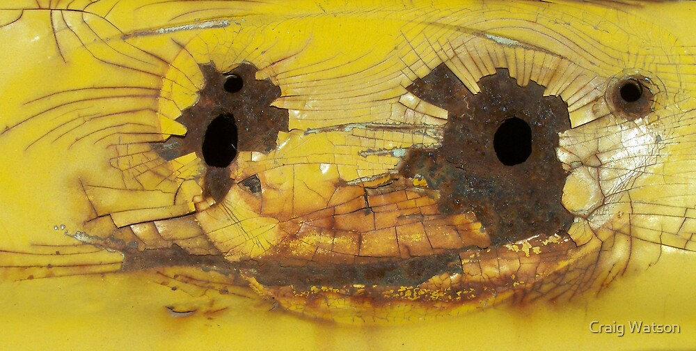 Four Rusty Holes on Yellow by Craig Watson