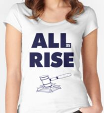 ALL RISE Aaron Judge NY Yankees Navy Print Women's Fitted Scoop T-Shirt