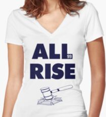 ALL RISE Aaron Judge NY Yankees Navy Print Women's Fitted V-Neck T-Shirt
