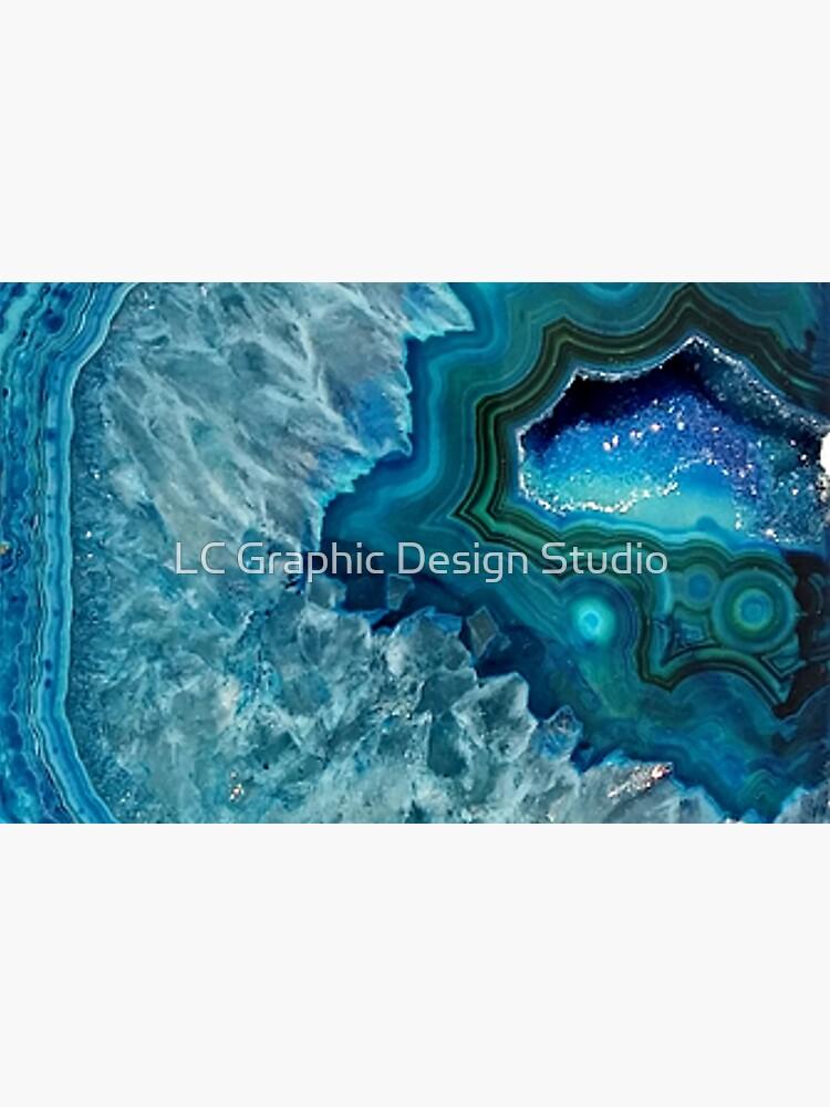 Pretty Teal Aqua Turquesa Geode Cristales Patrón de FudgePudge