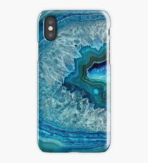 Pretty Teal Aqua Turquoise Geode Crystals Pattern iPhone Case/Skin