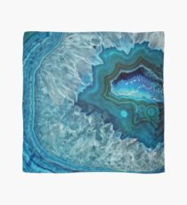 Pretty Teal Aqua Turquoise Geode Crystals Pattern Scarf