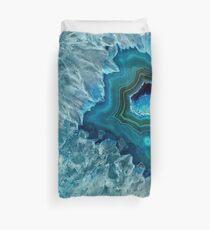 Hübsches aquamarines Aqua-Türkis-Geode-Kristall-Muster Bettbezug