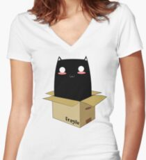 Black Cat in a Box Women's Fitted V-Neck T-Shirt